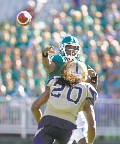 Saskatchewan Roughriders quarterback Darian Durant picked apart the Bombers secondary last week in Regina.