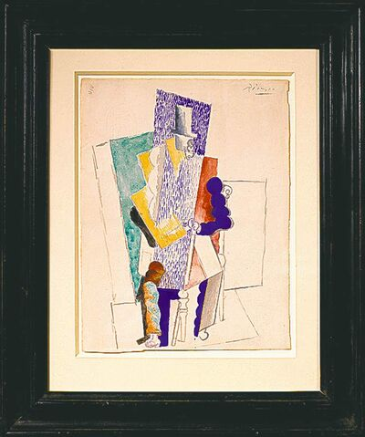 Pablo Picasso's 1914 cubist drawing 'L'homme au Gibus' (Man With Opera Hat).