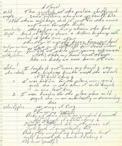 A page from a handwritten manuscript of Bruce Springsteen's 1975 hit Born to Run.