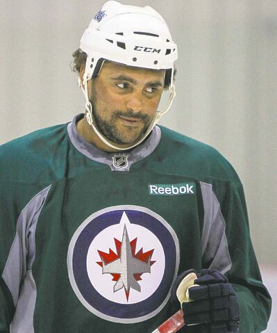 Winnipeg forward Dustin Byfuglien hit the ice for the first time following the Olympic break on Wednesday at the MTS Iceplex.