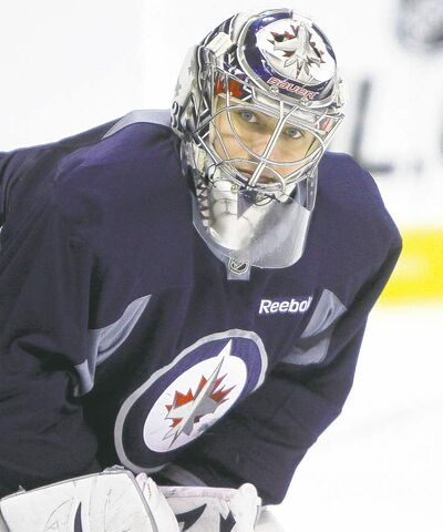 Winnipeg Jets' goalie, Ondrej Pavelec during practice at MTS Centre, Sunday, November 13th. The Jets are preparing to face off against Tampa Bay on Monday. (TREVOR HAGAN/WINNIPEG FREE PRESS)
