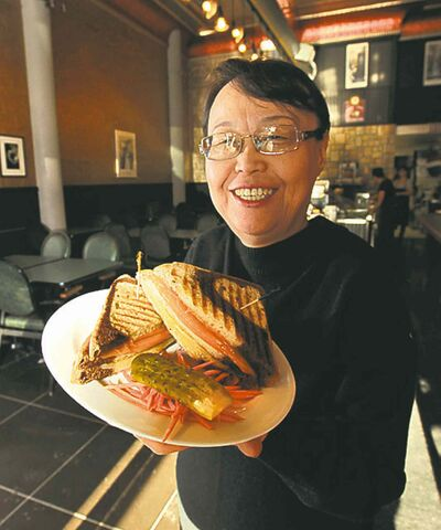 Bokhi Yoon of Kay's Delicatessen offers up a Triple Decker Grilled Cheese.