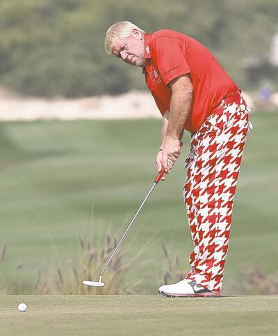 John Daly of the USA during the final round of the Commercialbank Qatar Masters at the Doha Golf Club on Sunday Feb 5, 2012.(AP Photo/Osama Faisal)