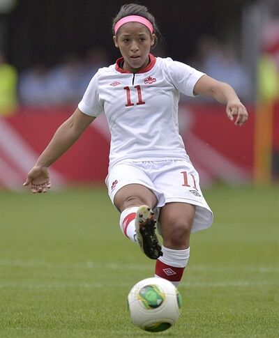 Canada's Desiree Scott in Paderborn, Germany, June 19, 2013. THE CANADIAN PRESS/AP, Martin Meissner