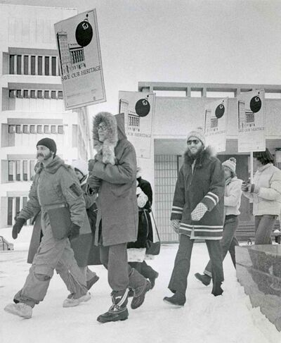 Protesters head to city hall to convince council to approve a heritage building bylaw on Nov. 20, 1978.
