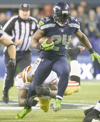 Joe Barrentine / Tacoma News Tribune / MCT filesSeahawks� Marshawn Lynch can be as dangerous on the ground as Peyton Manning is in the air.
