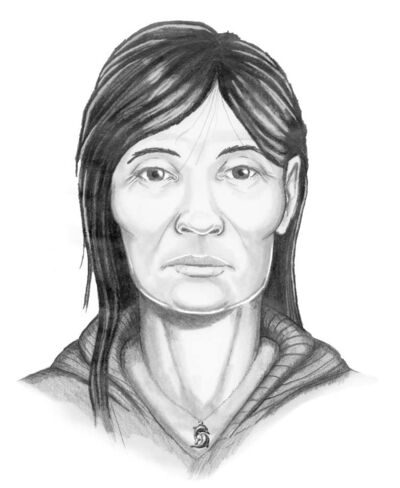 Police released a facial reconstruction completed by a forensic artist; the drawing is not an exact likeness.