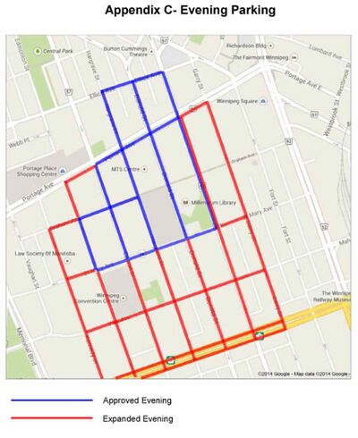 The proposed two-hour parking limit would apply to streets marked in both purple and in red.