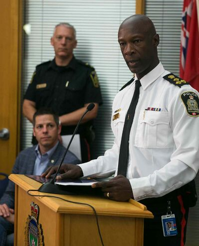 Winnipeg Police Chief Devon Clunis speaks at a Winnipeg Police Service press conference on the law firm bombing incident. Police have charged Guido Amsel two counts of attempted murder in relation to the bomb that detonated at a law firm injuring lawyer Maria Mitousis. Police have the city on high alert, as there may be additional packages.