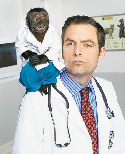 Who has two opposable thumbs and a veterinary degree?: Crystal as Dr. Zaius and Justin Kirk as Dr. George Coleman.