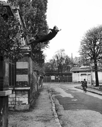 French artist Yves Klein's 'Leap Into The Void' (1960). He actually jumped into a tarpaulin held by friends. The photo was altered to remove the tarp and add the street scene and bicyclist.