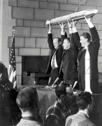 NASA / The New York Times files</p><p>In this February 1958 photo taken in Washington, D.C., James Van Allen (centre), William H. Pickering (left) and Wernher von Braun hold up a model of Explorer 1, the first American craft to orbit Earth. Van Allen was one of the key players in American nuclear space tests.</p>