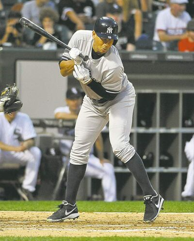 New York Yankees' Alex Rodriguez gets plunked in the second inning last night vs. the Chicago White Sox.