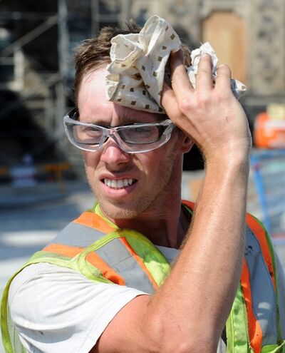 A construction worker wipes sweat from his brow as he works on Parliament Hill in Ottawa on Thursday, June 21, 2012. Whether it's stifling, humid conditions, vigorous exercise or plain old stress that's the trigger, trickles or torrents of sweat streaming from the body will undoubtedly follow. The outbreak of patches of perspiration in response to anxiety, warm weather or workouts is inevitable. Yet some people must cope with excessive amounts of sweat. THE CANADIAN PRESS/Sean Kilpatrick