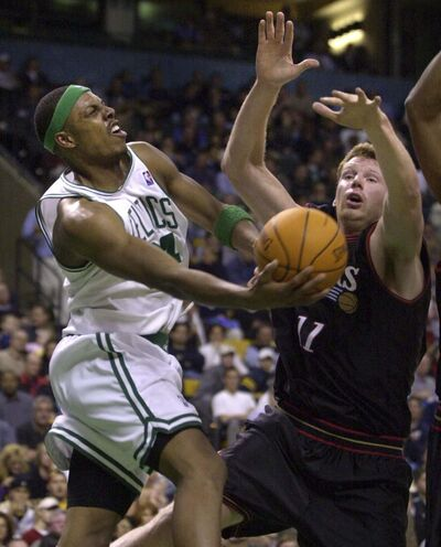 Charles Krupa / The Associated Press files</p><p>Todd MacCulloch tries to stop Celtics star Paul Pierce, while playing for the 76ers in 2002.</p>