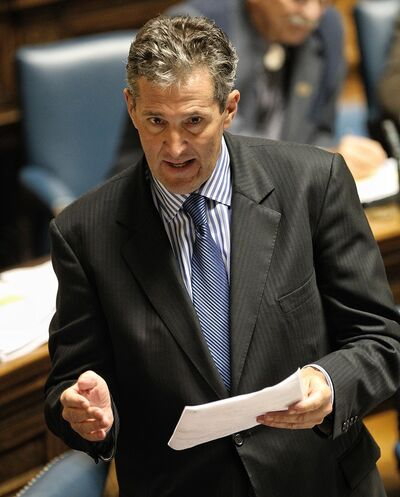 Brian Pallister speaks during question period at the Manitoba Legislature Thursday afternoon.