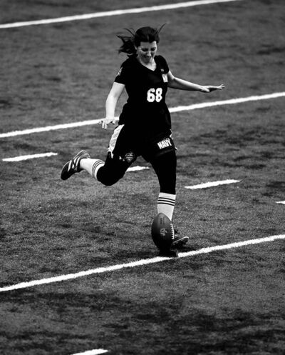 mel evans / the associated pressLauren Silberman made history Sunday as the first woman to try out at NFL regional combines. Her attempt ended after two kicks due to a quadricep injury.