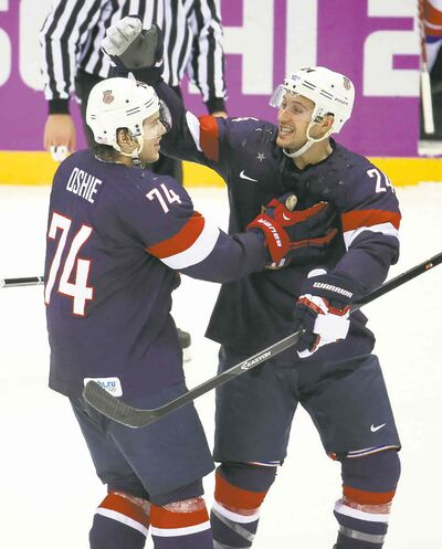 Brian Cassella / Chicago Tribune / MCTThe deciding factor in T.J. Oshie, left, (with Ryan Callahan) making the U.S. Olympic team was his success in shootouts, which paid off against Russia.