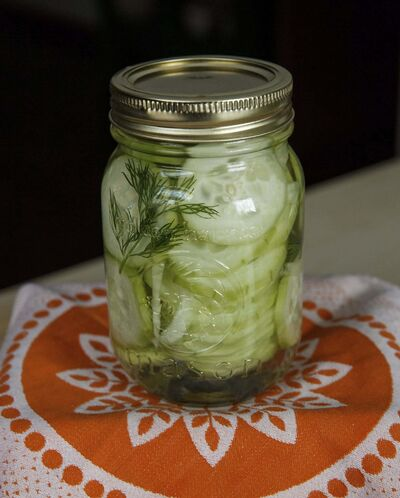 <p>A jar of sandwich and supper cucumbers.</p>