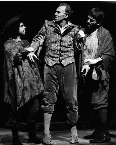 "FILE - This May 10, 1966 file photo shows Richard Kiley, center, in the ""Man of La Mancha,"" composed by Mitch Leigh. Leigh, 86, a successful advertising jingle writer whose debut attempt at writing music for a Broadway show became the instant, celebrated hit ""Man of La Mancha"" and earned him a Tony Award, died Sunday, March 16, 2014, in New York of pneumonia and complications from a stroke. A memorial was being held Monday afternoon in Manhattan. (AP Photo, File)"