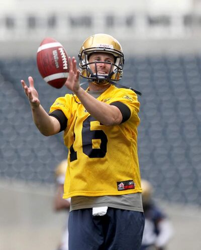 Blue Bomber quarterback Max Hall practices at Investors Group Field on Wednesday afternoon. His uncle is former Dallas Cowboys great Danny White.