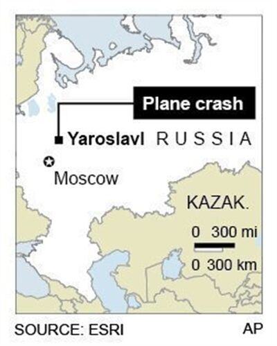 Map locates Russian jet crash, Wednesday near city of Yaroslavl.