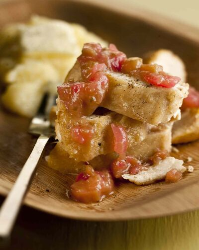 Rhubarb relish pairs well in a savoury dish such as this one, served with chicken.