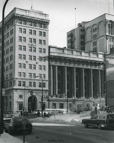 The Bank of Hamilton building at 395 Main St. (left) and the Canadian Imperial Bank of Commerce building, now called the Millennium Centre, at 389 Main St in 1979.