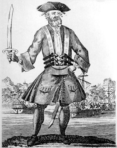 18th century lithograph of Blackbeard