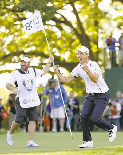 david phillip / the associated pressGermany�s Martin Kaymer celebrates after draining the six-foot clinching putt on 18. Phil Mickelson agonizes over a missed opportunity (top left) while Europe captain Jose Maria Olazabal smooches the cherished Ryder Cup.