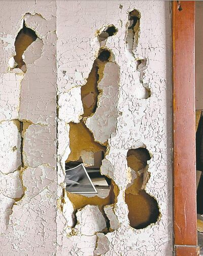 Tim Smith / Brandon Sun archives Smashed walls are visible in one of the homes  at the Criddle Vane historic site south of CFB Shilo.