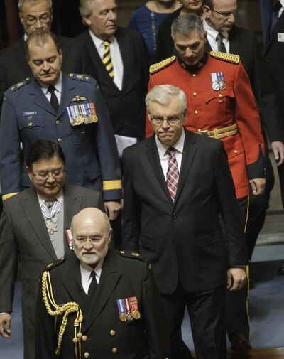 Lt.-Gov. Philip Lee and Premier Greg Selinger enter the Manitoba Legislature for the throne speech Tuesday afternoon.