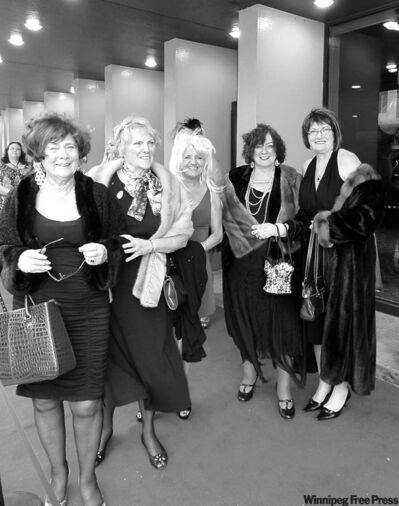 Women arrive in Sex in the City attire for the Arthritis Society fundraiser.