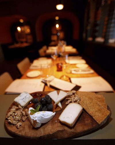The Chef's Selection Cheese plate with gorgonzola, pistachio pecorino and walnuts.