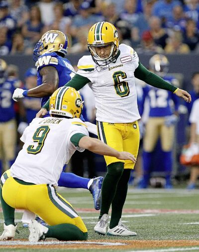 JOHN WOODS / THE CANADIAN PRESS FILES</p><p>Had it not been for a 75-yard touchdown to Tevaun Smith with just over a minute remaining, Edmonton kicker Sean Whyte would have been responsible for every point the Eskimos have scored against the Bombers in eight quarters.</p>