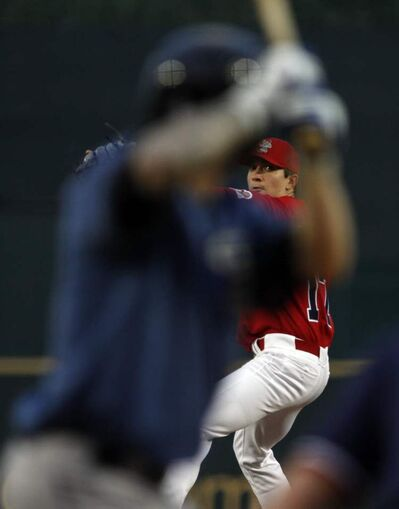 Winnipeg Goldeyes pitcher Justin Garcia faces off against the St. Paul Saints from the pitcher's mound at Shaw Park on Friday.