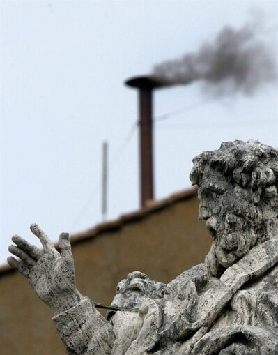 FILE - In this April 19, 2005 file photo, black smoke billows from the chimney atop the Sistine Chapel at the Vatican, indicating that the cardinals gathered in the Conclave for the second consecutive day have not yet chosen the new pontiff. White smoke signals that cardinals have chosen a pope and he has accepted. The Vatican announced Monday, Feb. 11, 2013 that Pope Benedict XVI, who was elected pope in the 2005 conclave, is stepping down on Feb. 28, becoming the first pontiff in 600 years to resign. The conclave to elect a new pope must begin 15-20 days after Benedict's resignation. (AP Photo/Diether Endlicher, File)