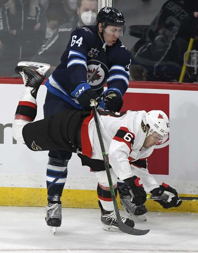 Jets towering defenceman Logan Stanley brings more than toughness to his job on the blue line. (Fred Greenslade / The Canadian Press files)</p>