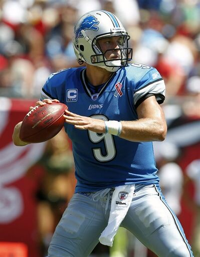 Detroit Lions quarterback Matthew Stafford prepares for a first-half pass against the Tampa Bay Buccaneers during an NFL football game on Sunday, Sept. 11, 2011, in Tampa, Fla. The Lions defeated the Buccaneers 27-20. (AP Photo/Margaret Bowles)