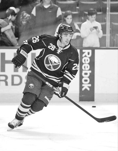 Newly acquired Buffalo Sabres forward Matt Moulson takes the pre-game skate before facing the Dallas Stars Monday.