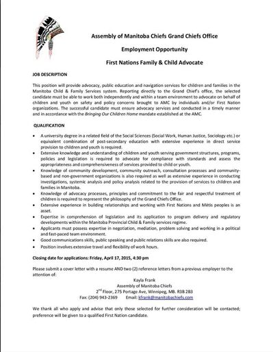 the job posting for the amcs family and child advocate - Child Advocate Job Description