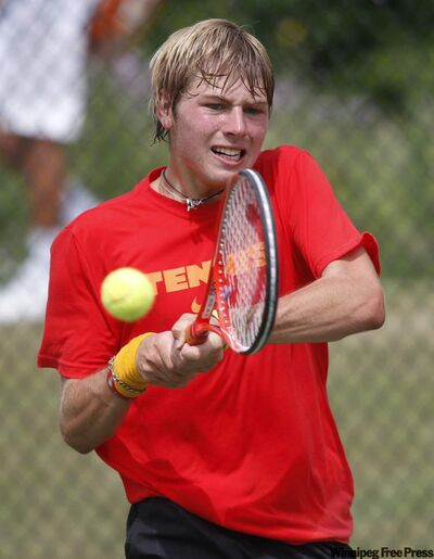 Kevin Kylar fires a return volley at the Canadian Mid-West under-18 tournament Wednesday.