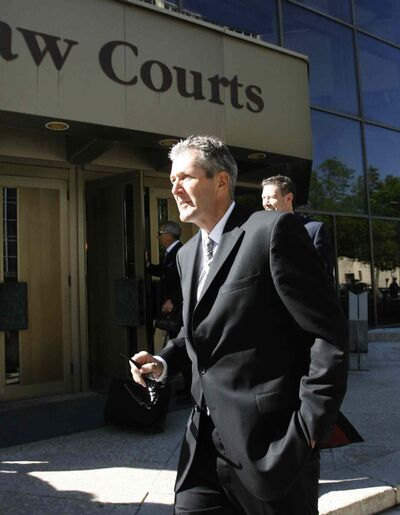 PC Leader Brian Pallister arrives at the Law Courts June 4 for the PST court case.