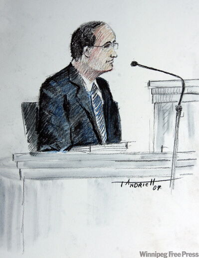 An artist's sketch of Dr. Stanley Yaren, who has worked closely with Li at the Health Sciences Centre, testified Tuesday.