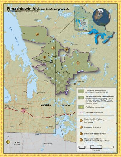 The Pimachiowin Aki World Heritage project is a joint effort by the Poplar River, Little Grand Rapids, Pauingassi and Pikangikum First Nations.