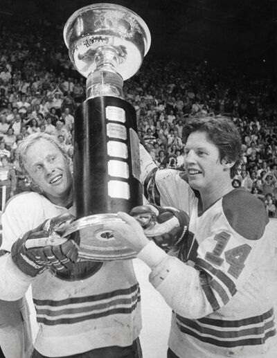 THE CANADIAN PRESS FILES</p><p>Winnipeg Jets' players Anders Hedberg (left) and Ulf Nilsson hoist the Avco Cup after winning the World Hockey Association championship in Winnipeg, May 23, 1978. </p>