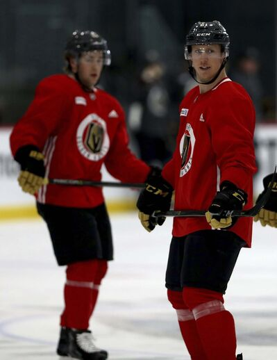 <p>Vegas Golden Knights players and Manitobans Brendan Leipsic, left, and Cody Eakin, at practice at City National Arena in Summerlin, Nevada, Thursday.</p>