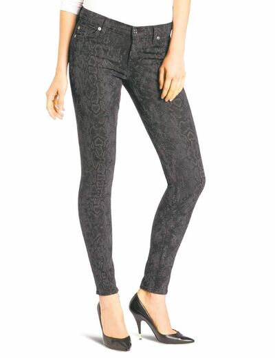 For those who follow the Chinese zodiac, the year of the snake begins Feb. 10. Some ways to incorporate the symbol of the year into your wardrobe, with no harm done to any living creature include these 7 For All Mankind the skinny laser snake jeans, $198 from Amazon.com. (Amazon.com via Los Angeles Times/MCT)
