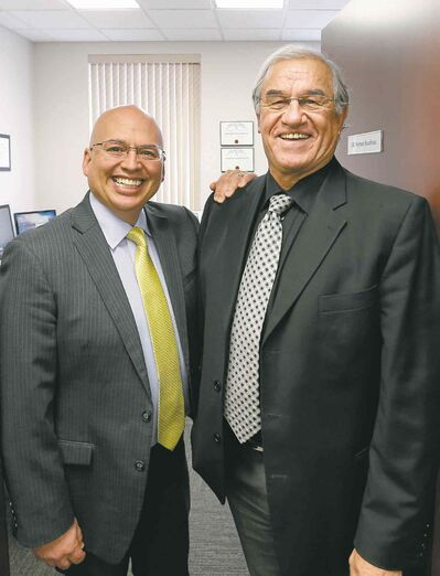 Paul Chartrand (right) with his new boss, Norman Boudreau. Chartrand will work part-time at Boudreau Law at a time when courts are defining Métis rights.