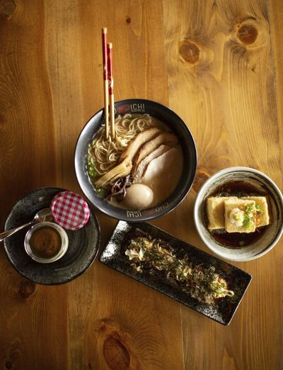 ANDREW RYAN / WINNIPEG FREE PRESS FILES</p><p>A bowl of Cho Ichi's original tonkatsu ramen, served with green tea panna cotta, left, tokoyaki and agedashi tofu, right.</p>